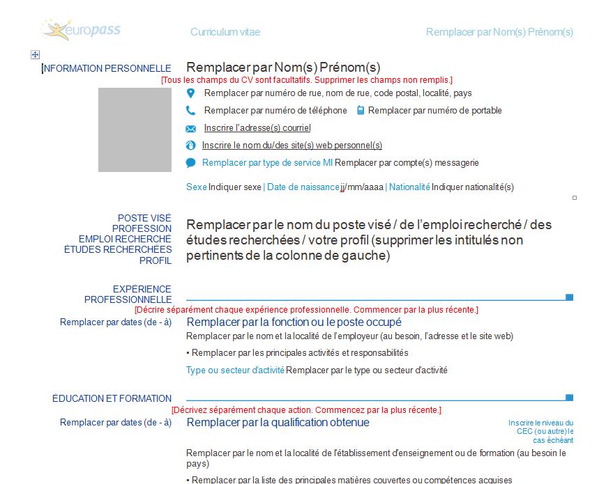 curriculum vitae model in franceza completat