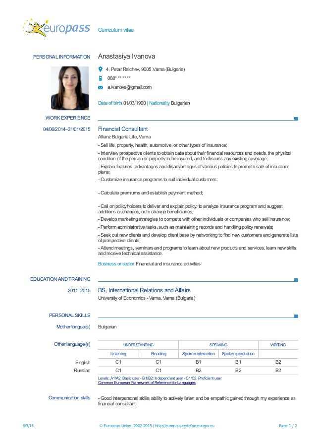 curriculum vitae europass cu poza